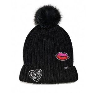 Victoria's Secret PINK Puff Patch Beanie Hat